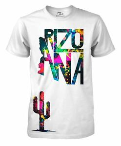 Proud-Arizona-Home-State-Map-Tee-AZ-Cactus-T-Shirt-Men-039-s-Drop-Paint-T-Shirt