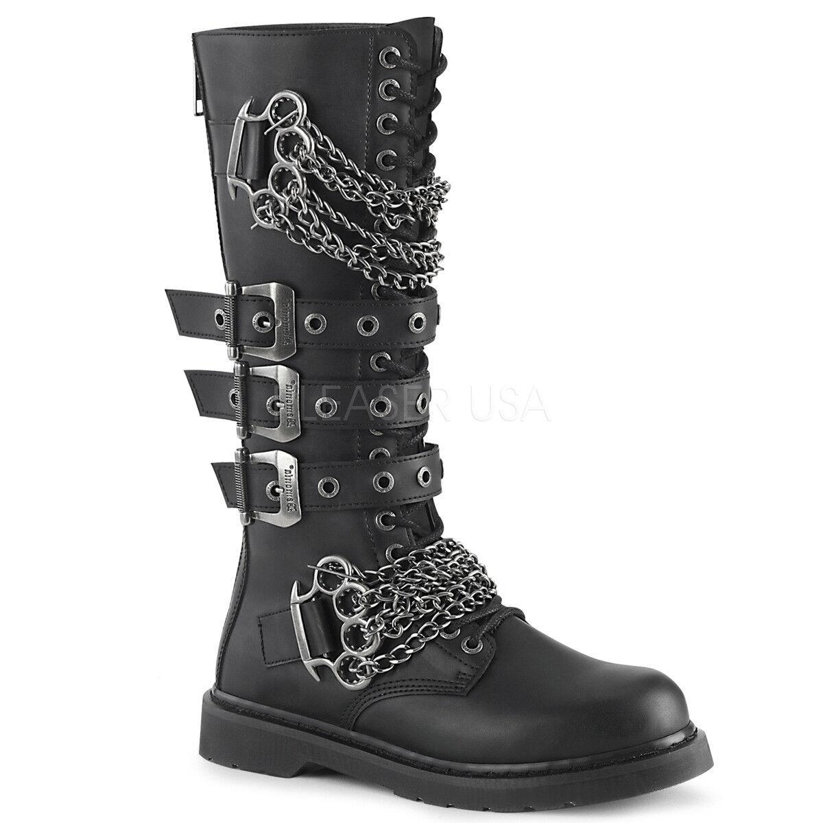 Demonia para Hombre Gotico Goth Punk Rock Biker la rodilla alta botas de combate Perno - 450