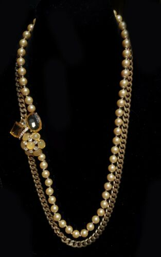 Vintage Ornate Double Strand Faux Pearl Side Piece