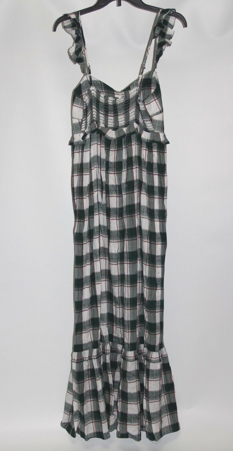 New Max Studio London Dark Green Plaid Women's Size Size Size Small Ruffled Maxi Dress 6c1e52