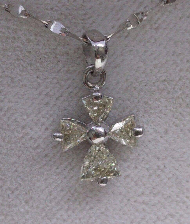 Diamond Cross Pendant 100% Natural White gold 18K 0.43 Carat 0.80 Gram Yellow