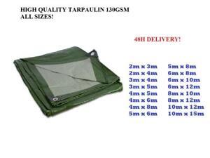 Tarpaulin Heavy Duty Waterproof Strong Cover Ground Sheet Tarp 130GSM 2x4 GREEN