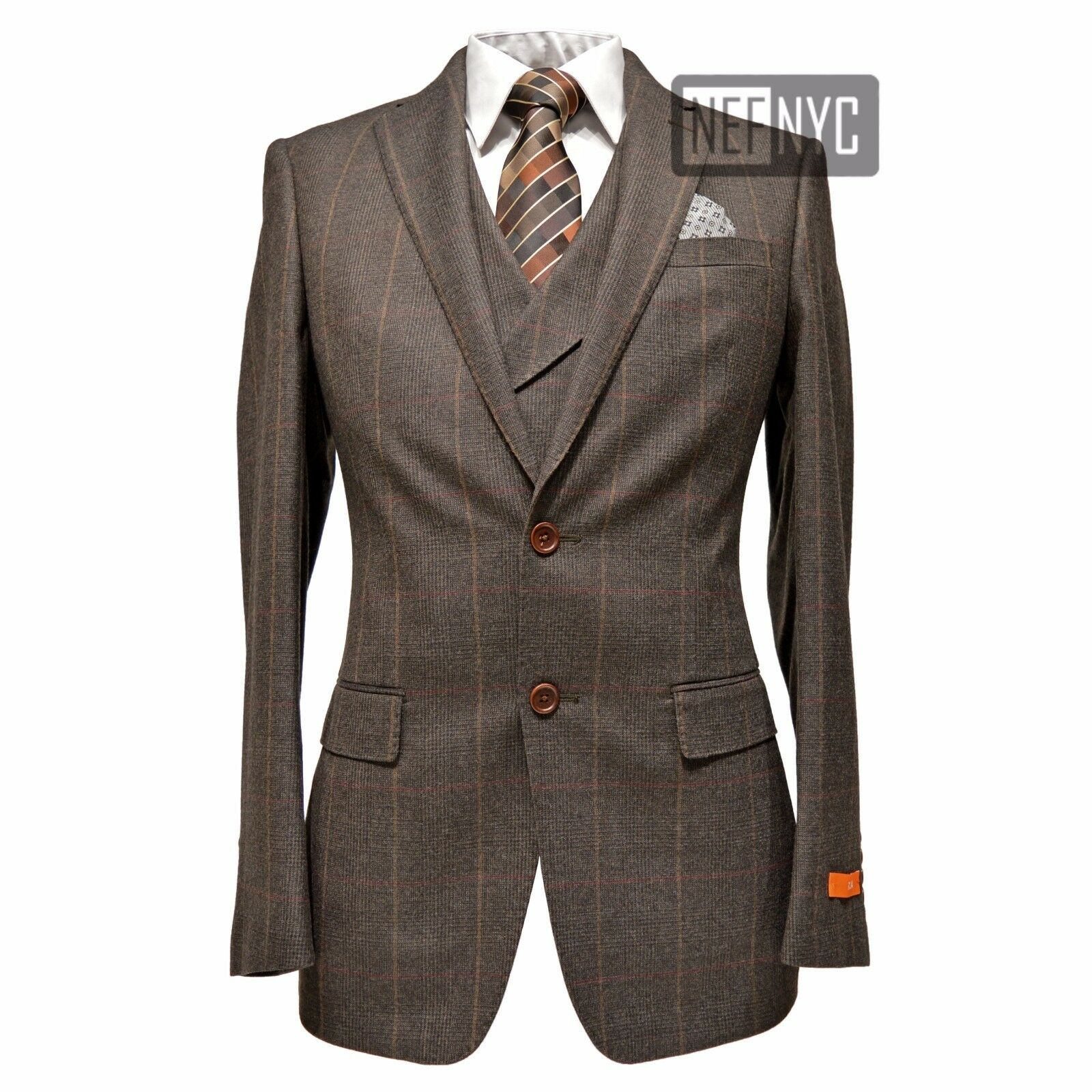 Tallia orange Men's 100% Wool Slim Fit Windowpane Two Button Vested Suit Brown