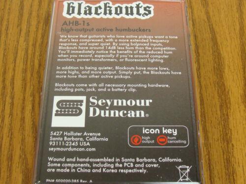 NEW Seymour Duncan AHB-1s Blackouts Active Humbucker PICKUP SET Black