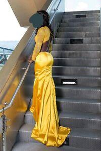 bf3fa936f7 2-Piece Mustard Yellow Prom Dress Size 4 (upper lace top  satin ...