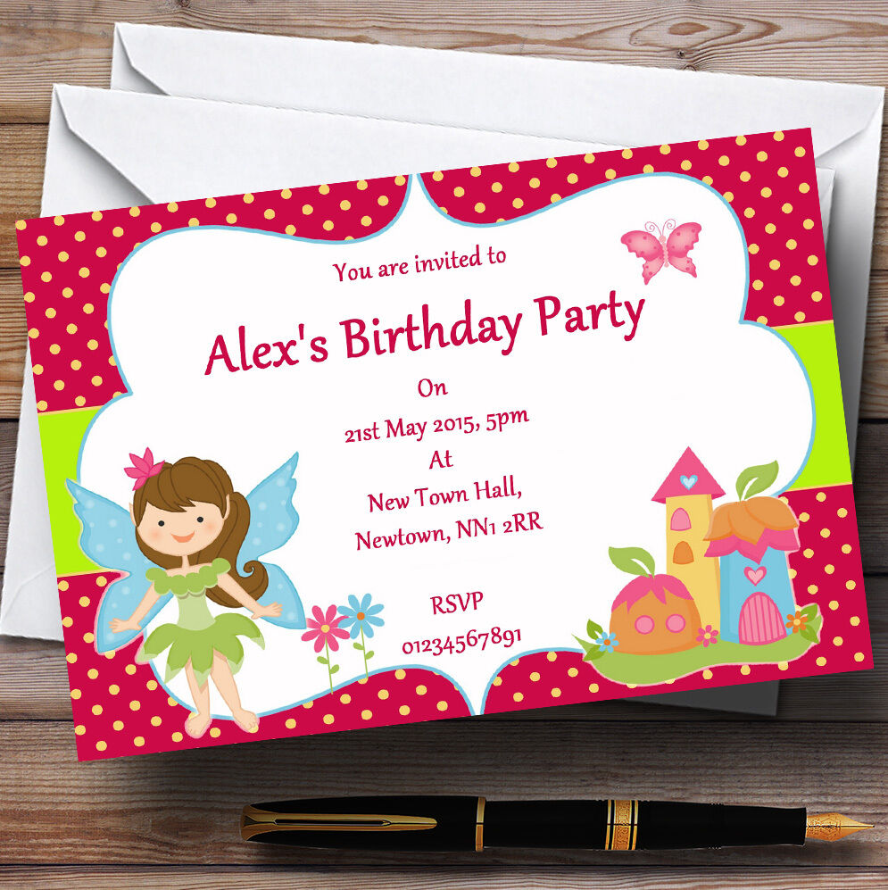 Fairy Pixie Personalised Birthday Party Invitations - TH115