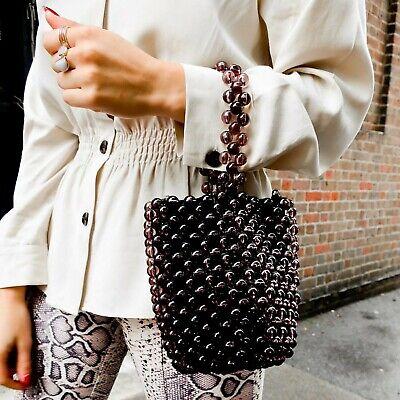 Zara New Vintage Beaded Mini Bucket Bag Blogger NWT