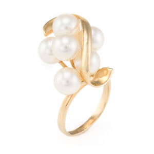 Cultured-Pearl-Cluster-Cocktail-Ring-Vintage-14k-Yellow-Gold-Estate-Fine-Jewelry