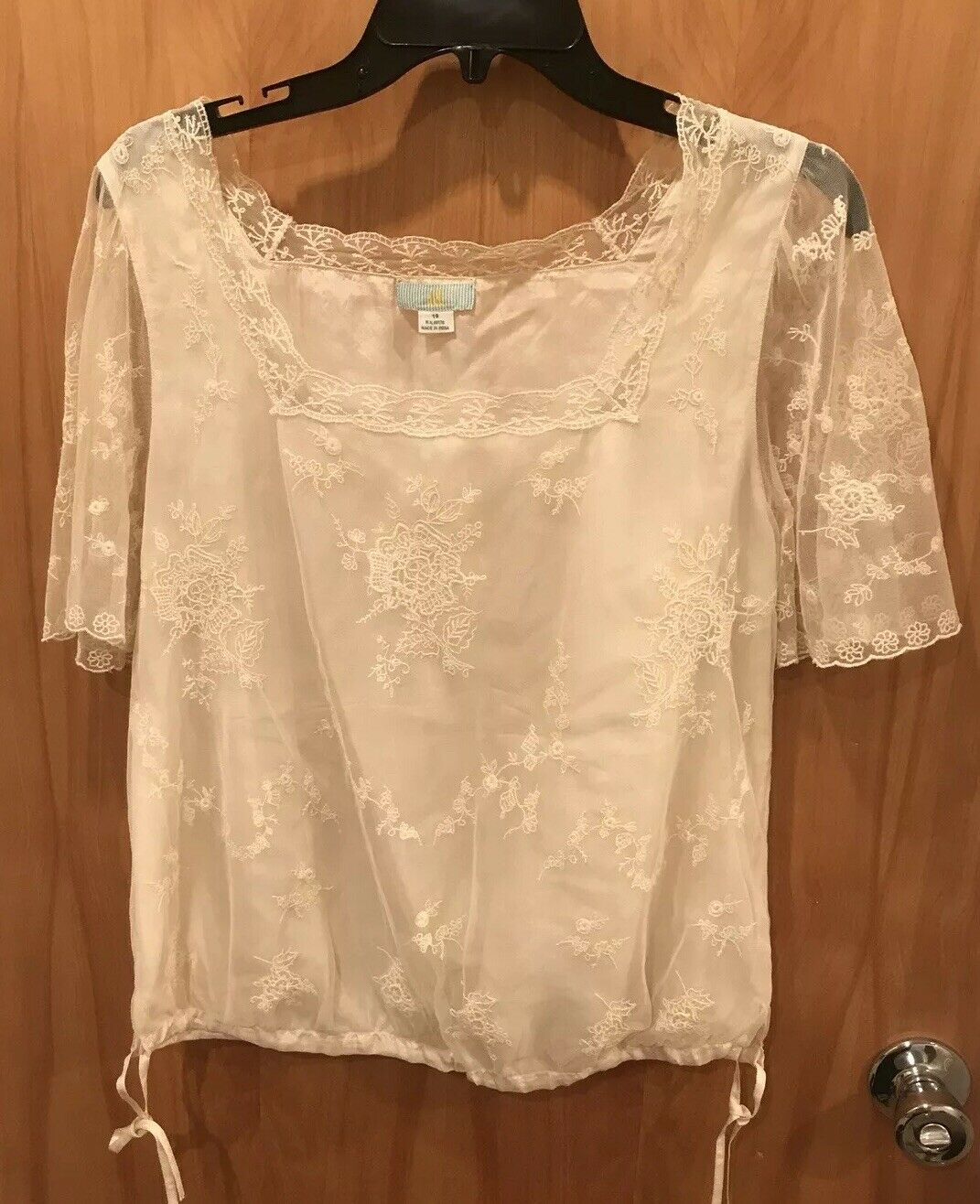 Lil Anthropologie Cream Top Blouse Lace 10