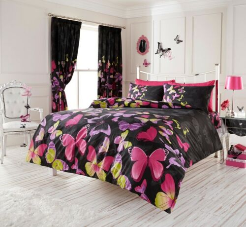 Butterfly Floral Duvet Quilt Cover /& Pillow Case Bedding Set Black Pink Rainbow