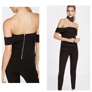 ae1ec676a0 Details about Express women s black stretchy zipper back off shoulder crop  top sz 0 NWT