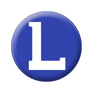 Magnetischer Button Kuehlschrank Magnet rund blau Buchstabe L wie Learner 16277