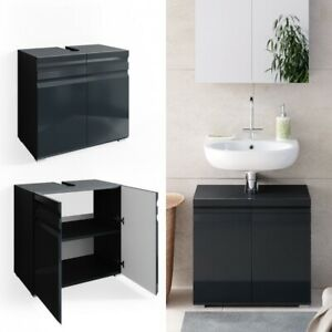 Dettagli su Sotto Lavabo Copricolonna Moderno Mobile Lavello Bagno  Antracite Design Elegante