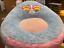 big joe plush chair, cat, blue/pink