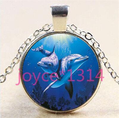 Vintage Dolphin Cabochon Tibetan silver Glass Chain Pendant Necklace #5880