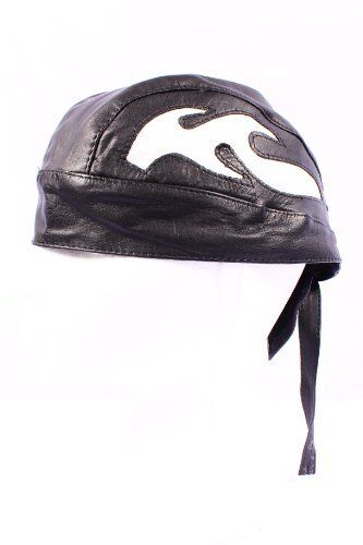 LEATHER BANDANA BLACK/&WHITE BIKER MOTORCYCLE PIRATE ZANDANA PRETIED CHOPPER