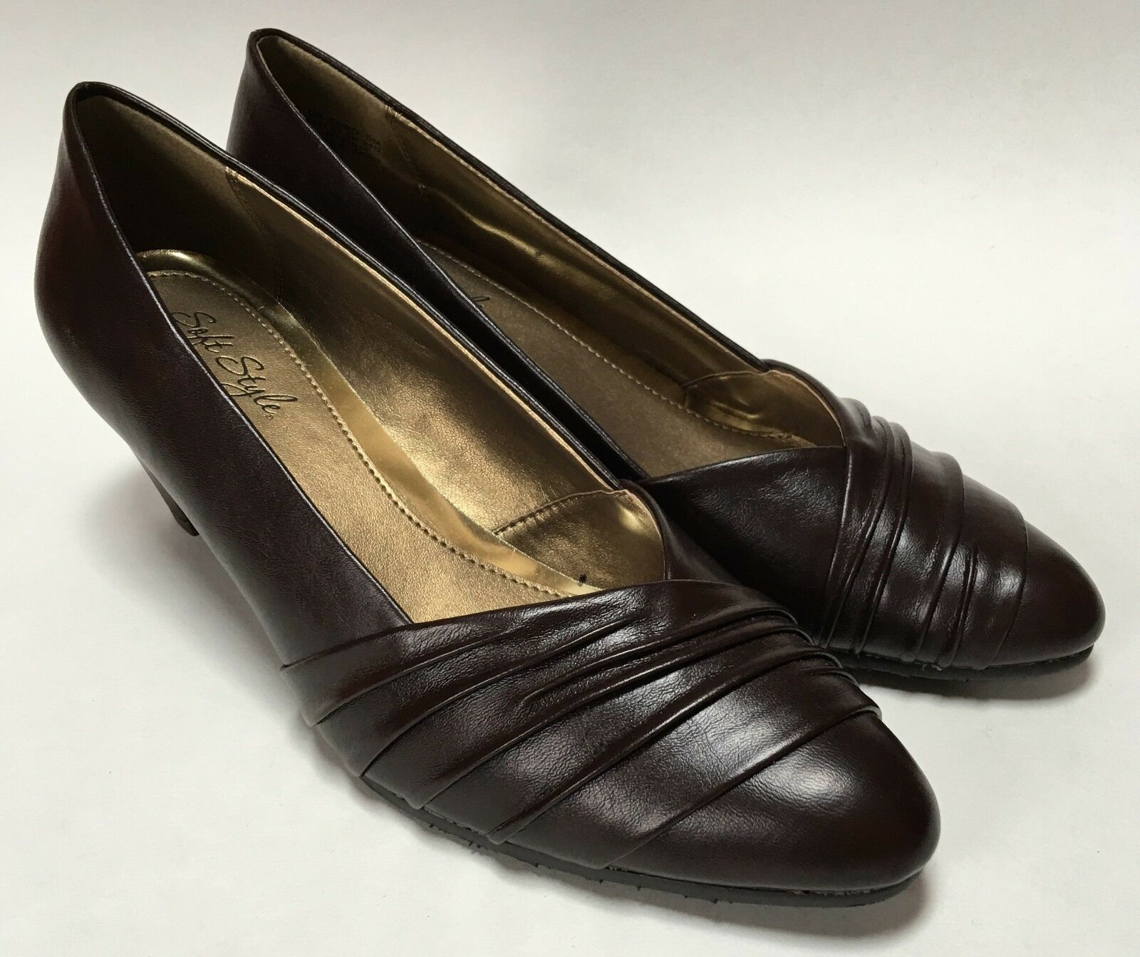Soft Style Brown Ruched Toe Medium 1/2 Heel Shoes Size 6 1/2 Medium M Great Condition 65f13a