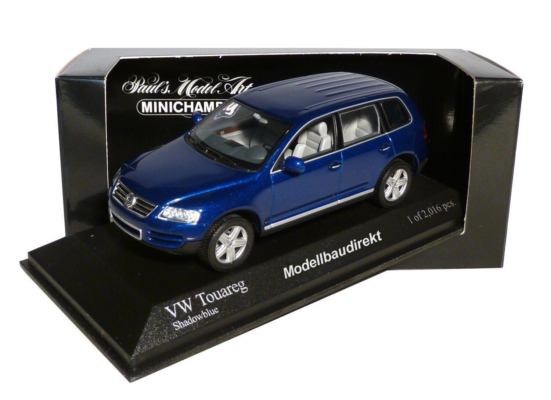 VW Touareg en bleu métallisé Bj 2002 1 43 Minichamps 400052000 NOUVEAU & NEUF dans sa boîte