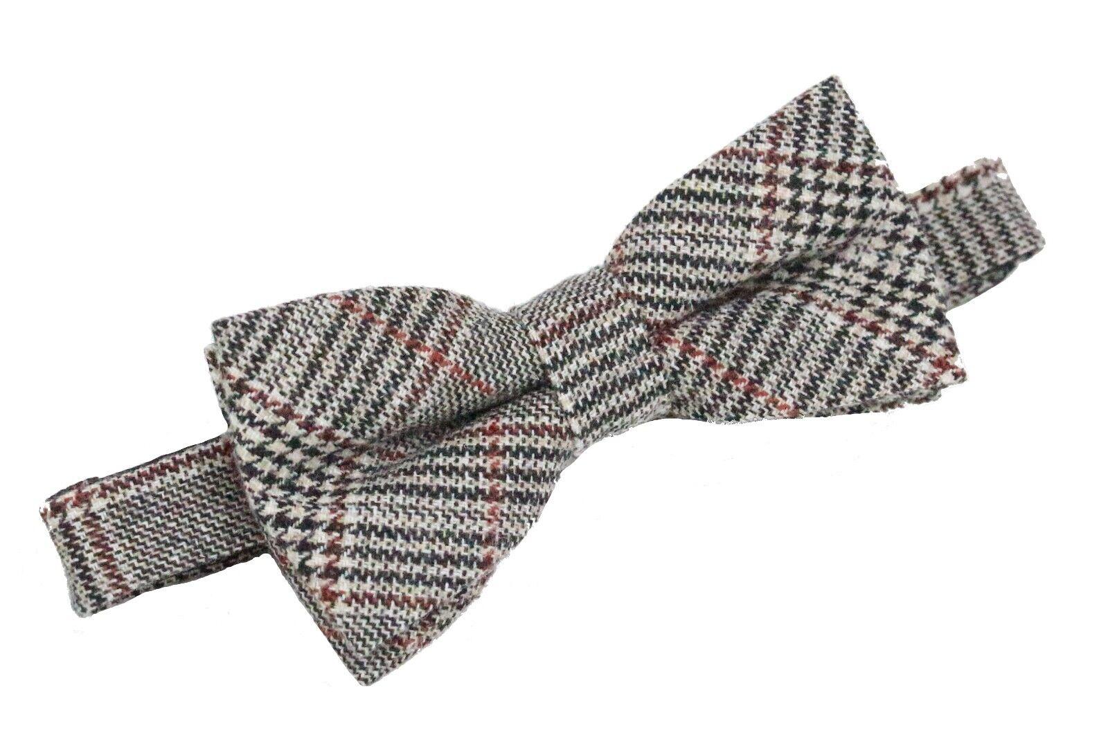 Fliege Wolle Mischung Hahnentritt Muster vorgebunden beige 12 x 6 cm Geschenkbox