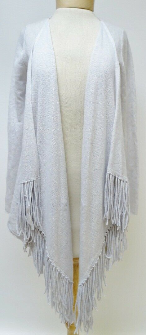 Sea blue Pearl Grey Fringed Cashmere Cardigan Size Small