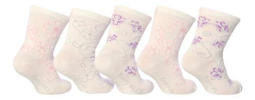 5 Paquete De Algodón Blanco Estampado Rosa Calcetines al tobillo para las niñas pequeñas Lindo Bebé ELLE