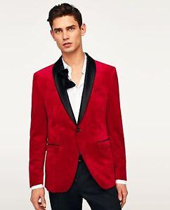ZARA SUIT REF VELVET 8245405 BLAZER BNWT RED eBay qtPxnd