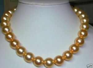"""Beautiful 10mm AAA gold south sea shell pearl necklace 18"""""""