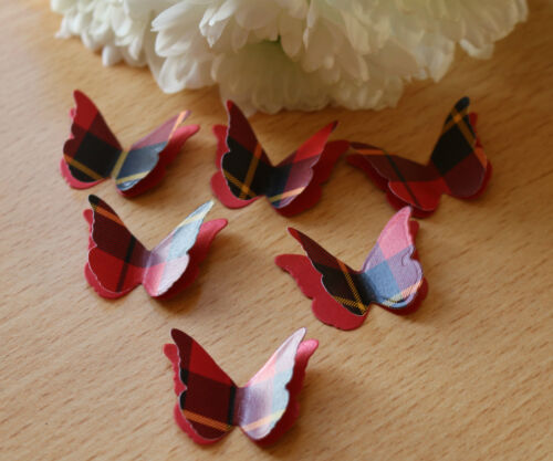 25 WALLACE TARTAN 3D BUTTERFLY WEDDING CONFETTI TABLE DECORATION TOPPERS