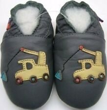 minishoezoo soft sole leather baby shoes excavator grey 12-18 pre walking