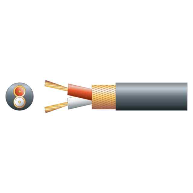 Mercury Round 2-Core Overall Lap Screen Cable, 4mm, 100m - Black