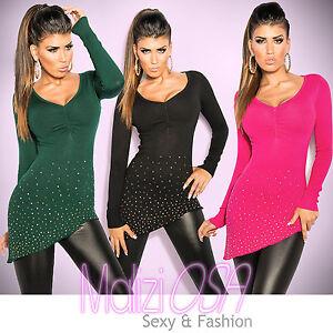 Maglione-Donna-Lungo-Asimmetrico-Strass-Borchiette-Sweater-Maglia-Maxipull