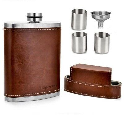 3 8oz Hip Flasks and Shot Cups in Genuine Brown Leather Carry Case Engraved Gift