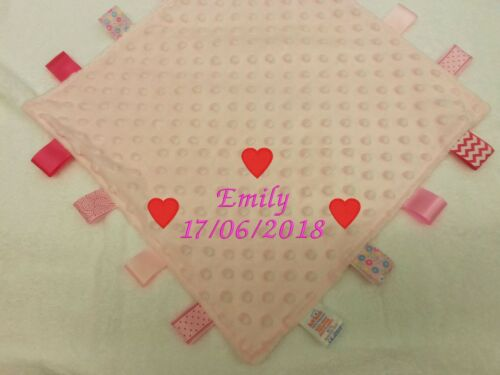 PERSONALISED EMBROIDERED BABY TAG TAGGIES BLANKET COMFORTER BOY GIRL *NEW BABY*