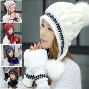 Bonnet-Gants-Femme-Ensemble-de-gants-de-bonnet-d-039-hiver-Bonnets-et-gants-tricotes
