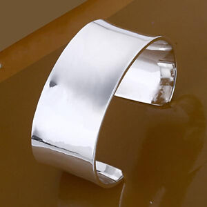 Image is loading 925Sterling-Silver-Solid-Silver-Wide-1837-Women-Men- 18bbf83792