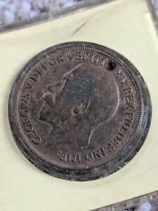 OLD-COIN-GREAT-BRITAIN-UK-George-V-ONE-Penny-1919-100-YEARS-OLD