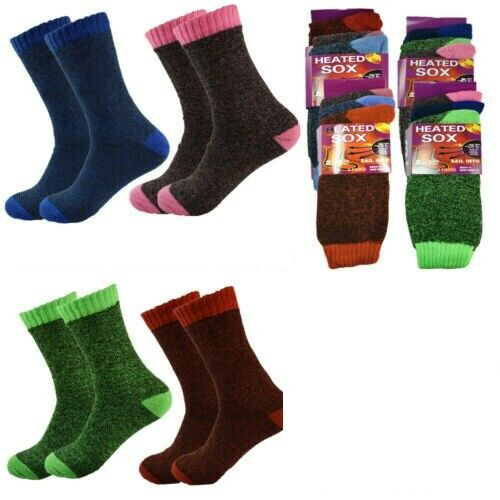 6,12 pairs warm thermal heated knitted heavy duty crew socks New women 3