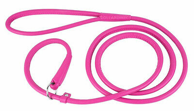 Rolled Round Leather Dog Slip Show Lead Collar Leash 4 or 6 ft Pink Red Brown