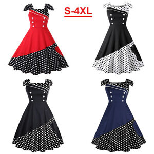 4XL-Women-Vintage-Retro-50s-Swing-Pinup-Rockabilly-Evening-Party-Cocktail-Dress