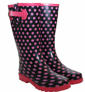 b08a7d3ac21 Details about womens ladies extra wide calf polka dot wellies waterproof  wellington rain boots