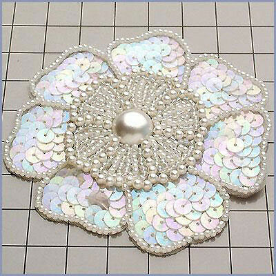 SEQUIN BEADED PEARLED FLOWER APPLIQUE 1080-F