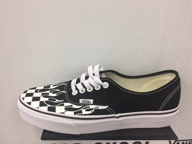 Vans Authentic Black White Checkerboard Flame Toe Box Size 7-13 New