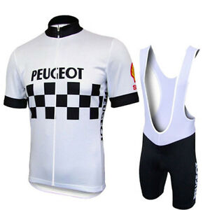 1986-Peugeot-Cycling-Jersey-Shorts-Bib-Retro-Road-Pro-Clothing-MTB-Short-Sleeve