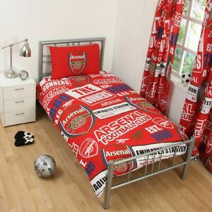 Arsenal-FC-039-Empiecement-039-Set-Housse-de-Couette-Simple-Neuf-Football-Chambre