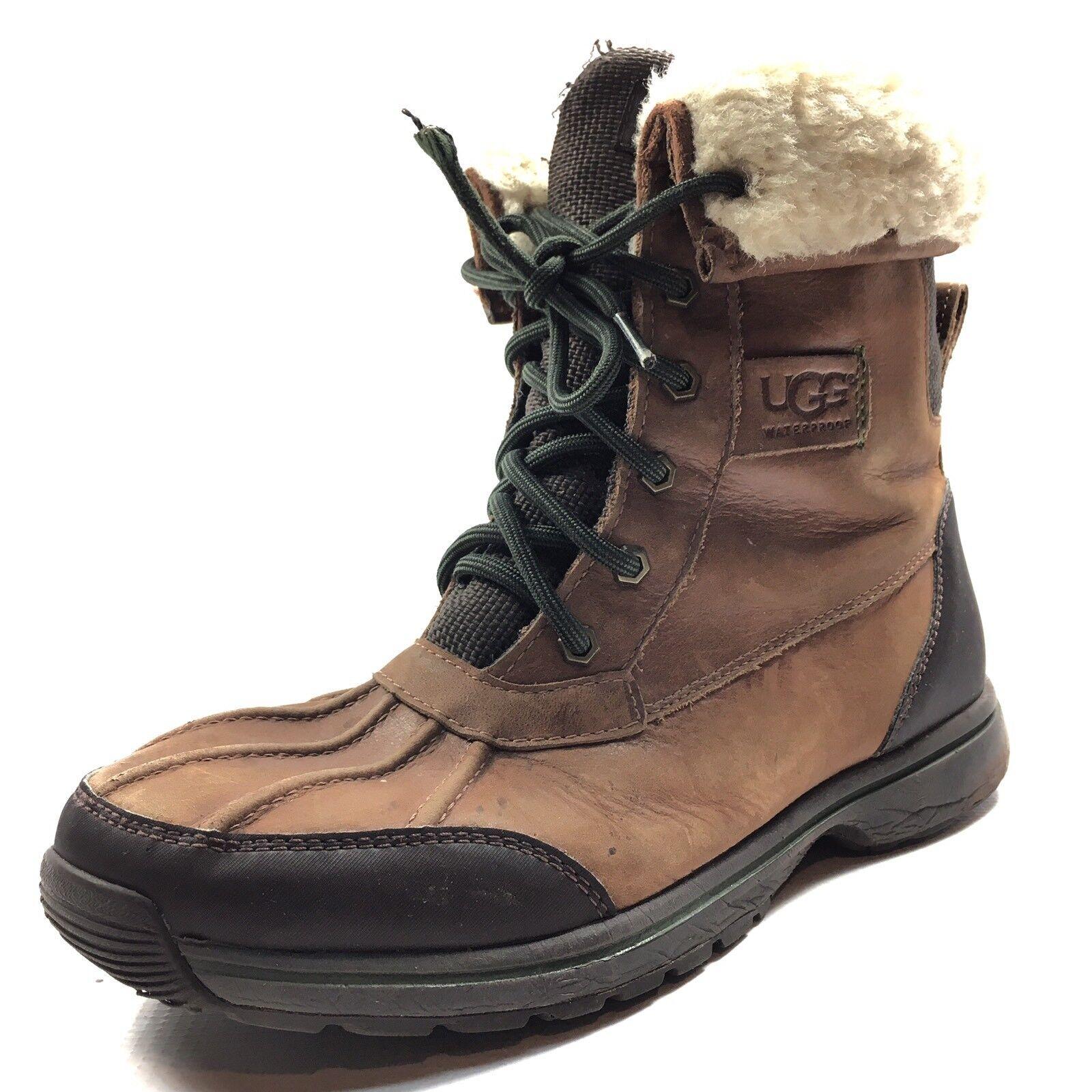 UGG Australia RUDYARD Botas para la nieve de cuero de color castaño a prueba de agua Tamaño 8 M *