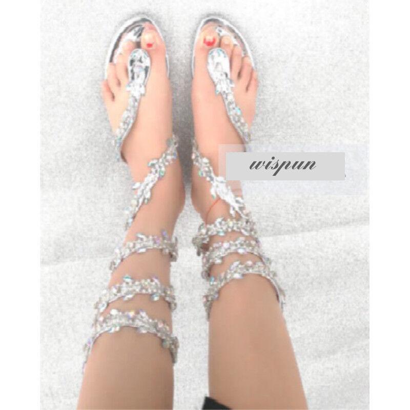 femmes Roman Rhinestone Flat High Heels Sandals Bling Beach Flip Flops Strappy