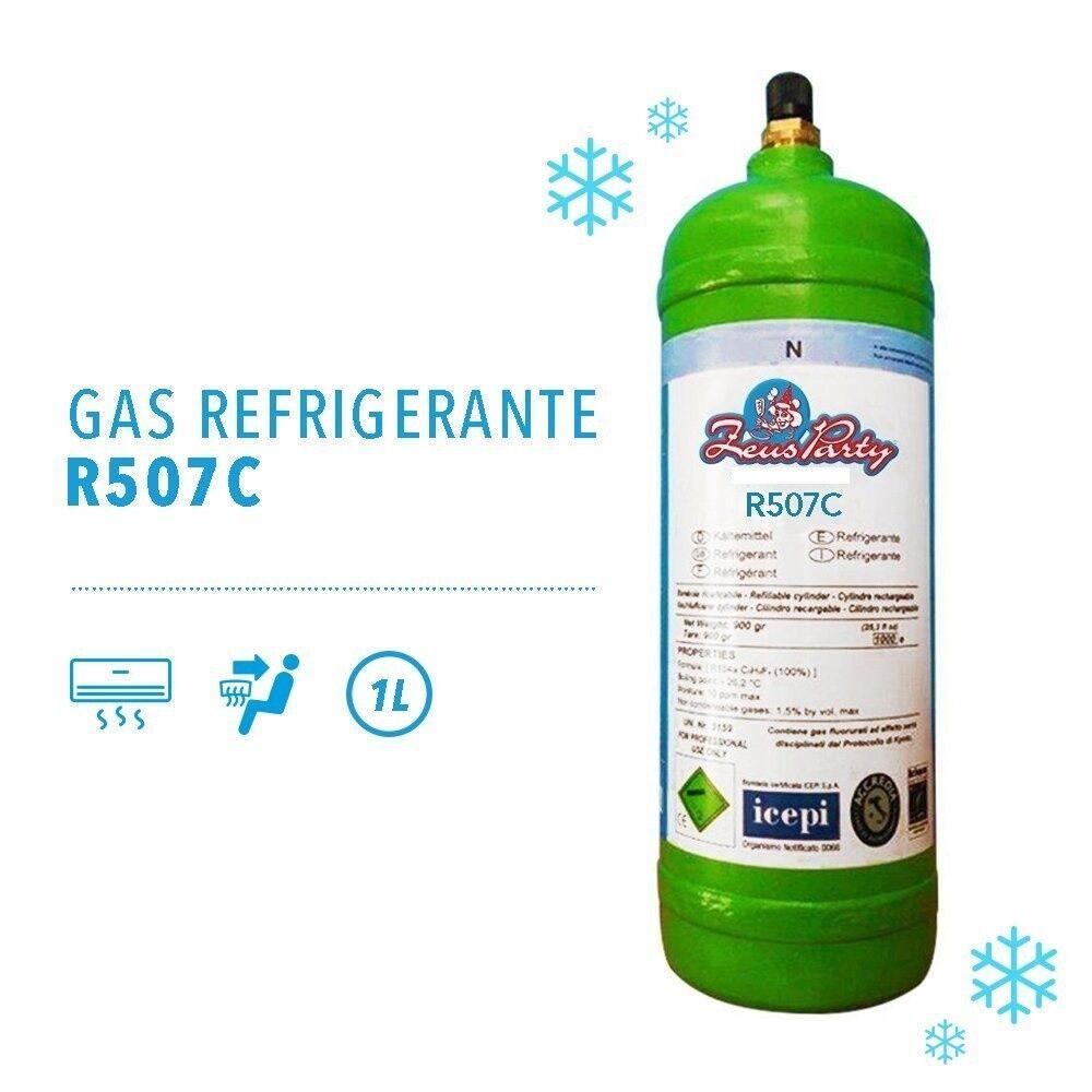GAS REFRIGERANTE R507C da 1 Lt - bombola per ricaricare climatizzatori -