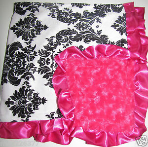 NEW fur Nursery Baby receiving Blanket throw Satin Ruffle damask girl hot pink