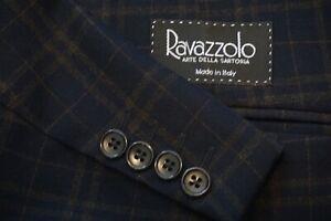 Ravazzolo-Navy-Orange-Plaid-Unlined-Wool-Sport-Coat-Jacket-Sz-40R