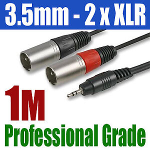 3-5mm-STEREO-iPhone-iPod-TO-2-x-XLR-MALE-PLUG-CABLE-299
